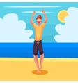 Young barefooted man in sun glassses dancing vector image vector image