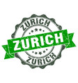zurich round ribbon seal vector image vector image