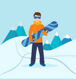 man standing on mountain holding snowboard vector image