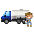 A tanker and a young man vector image