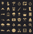 alpinism icons set simple style