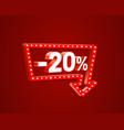 banner 20 off with share discount percentage neon vector image vector image