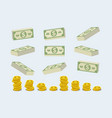 big pile of cash money and some gold coins heap vector image