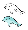 blue smiling dolphin sketch doodle vector image vector image