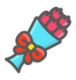 bouquet of flowers filled outline icon vector image