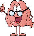 brain character wearing glasses vector image vector image
