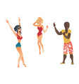 cartoon people dancing at beach party set vector image vector image