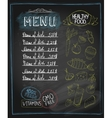 Chalkboard healthy food menu vector image vector image