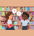 child booklover in library happy funny boy girl vector image vector image