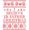 christmas pattern i believe in father christmas vector image vector image