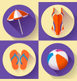 collection of summer icons vector image vector image