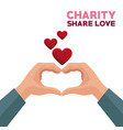 colorful hands charity share love forming a heart vector image