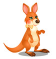 cute animated kangaroo with bow isolated on white vector image vector image