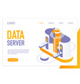 data server landing page isometric template vector image vector image