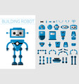 diy set of robots details in flat cartoon vector image