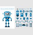 diy set robots details in flat cartoon vector image