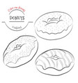 donuts outline set collection of contour donuts vector image