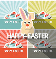 Easter Paper Flat Design Bunny on Retro Back vector image vector image