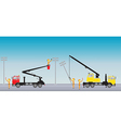 Electrician on road with Bucket Crane truck vector image