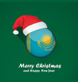 flag of kazakhstan merry christmas and happy new vector image
