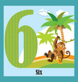 flat animal numbers 6 vector image