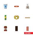Flat icon eating set of yogurt sack tomato and vector image