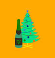 flat on background of christmas tree champagne vector image vector image