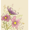 floral background with cosmos flowers vector image vector image