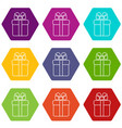 gift box icons set 9 vector image