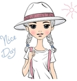 girl traveler in white hat vector image vector image