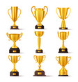 golden cup award champion winner trophy prize vector image vector image