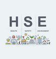 hse - health safety environment acronym banner vector image vector image