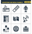 Icons set premium quality of advertising media vector image vector image