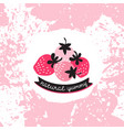 label with pink and red strawberry on the splashes vector image