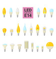 led light e14 bulbs colorful icon set vector image vector image