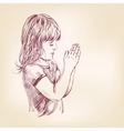little girl praying hand drawn llustration vector image vector image