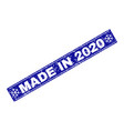 made in 2020 grunge rectangle stamp seal with vector image vector image