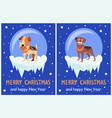 merry christmas and happy new year posters puppies vector image vector image