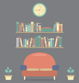 Modern Design Interior Sofa And Bookshelves vector image vector image