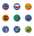 Musical instruments set icons in flat style Big vector image vector image