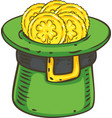 patrick day leprechaun hat with coins vector image