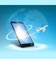 plane flies around smartphone vector image vector image