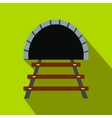 Railway tunnel flat icon vector image