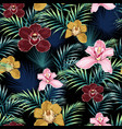 seamless pattern pink burgundy yellow orchid flow vector image vector image