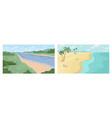 set summer landscapes beach sea river bank vector image