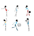 six modern girls vector image vector image