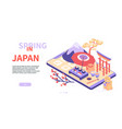 spring in japan - modern colorful isometric web vector image vector image