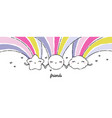 sun star cloud with with rainbows holding hands vector image vector image