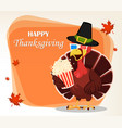 thanksgiving greeting card with a turkey bird vector image vector image