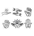 variety healing hands set vector image vector image
